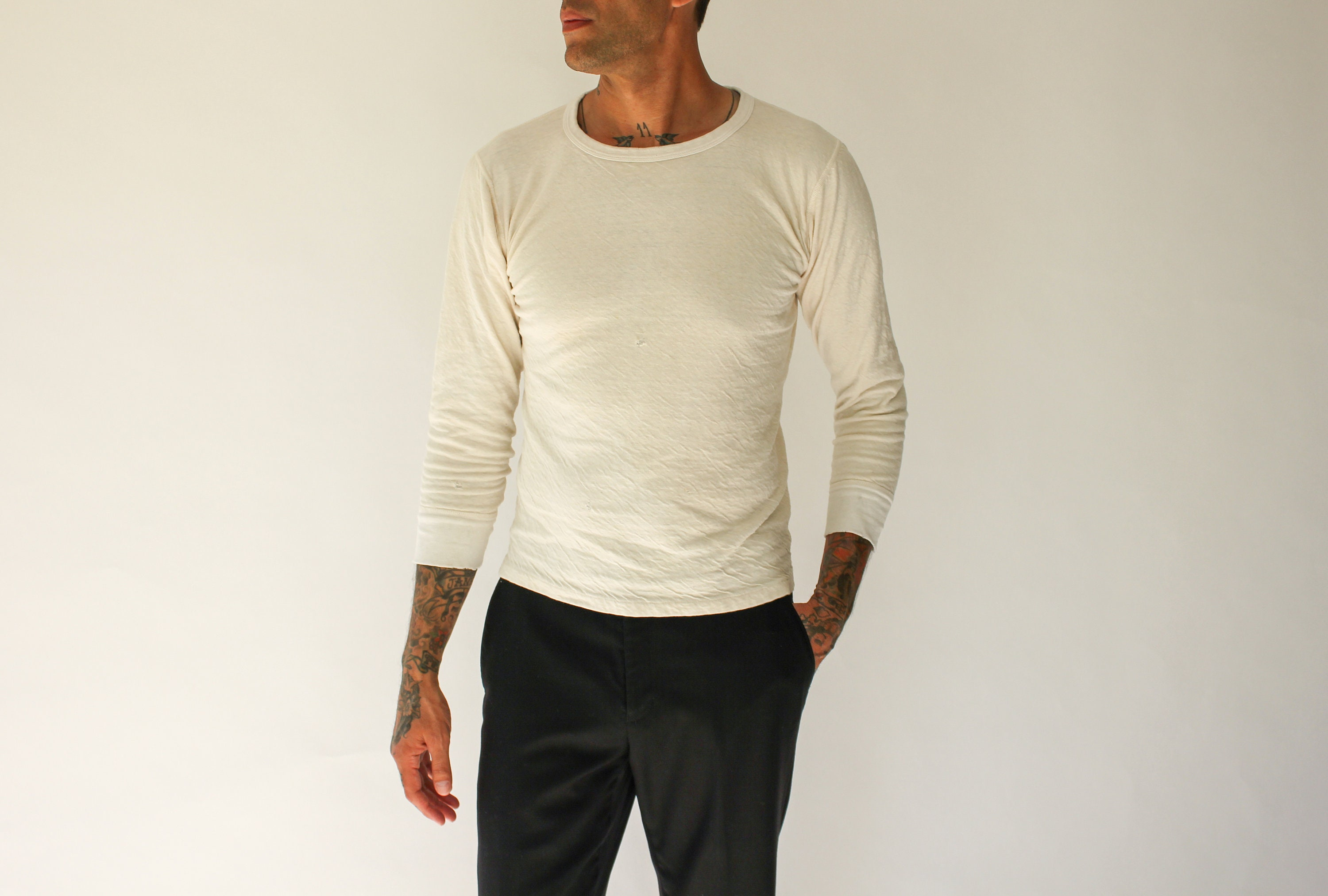 1970s Mens Shirt Styles – Vintage 70s Shirts for Guys Vintage 70S Lee Tri Blend Destroyed Cream Thermal Shirt  Made in Usa Cotton, Wool, Nylon 1970S Paper Thin, Soft Natural Tee $22.95 AT vintagedancer.com