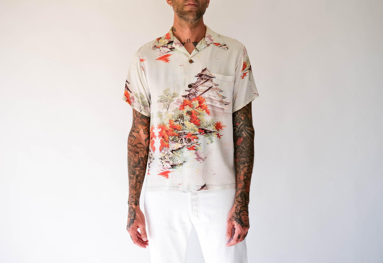 1940s Men's Shirts, Sweaters, Vests Rare Vintage 40S Palm Breeze Togs Hawaii Distressed Japanese Garden Aloha Shirt  SilkRayon 1940S Collectible Loop Collar Hawaiian $22.95 AT vintagedancer.com