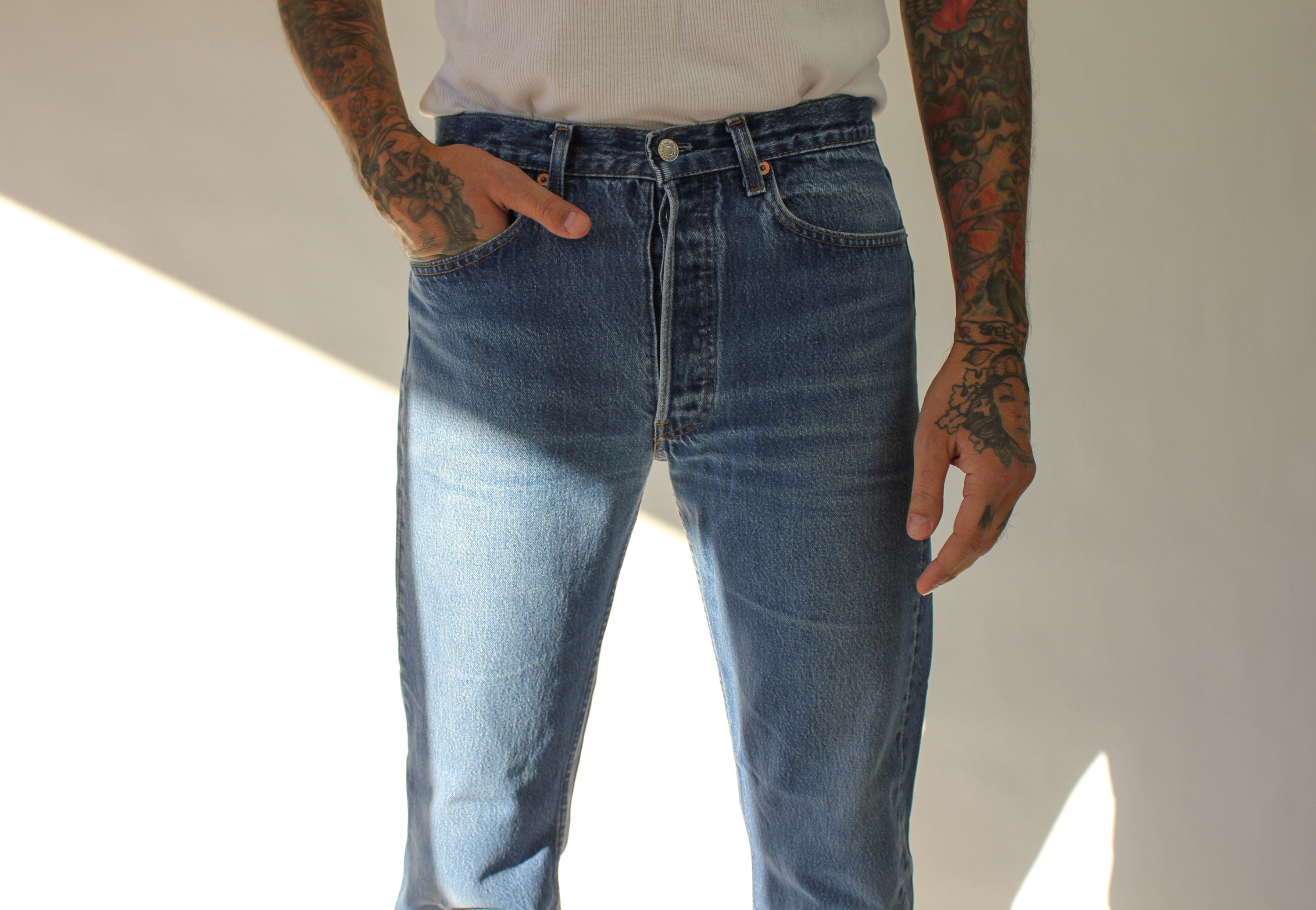 80s Dresses | Casual to Party Dresses Vintage 80S 90S Levis 501 Whiskered Medium Wash Distressed Button Fly Jeans  Made in Usa Size 31 1980S 1990S Indigo Denim Pants $22.95 AT vintagedancer.com
