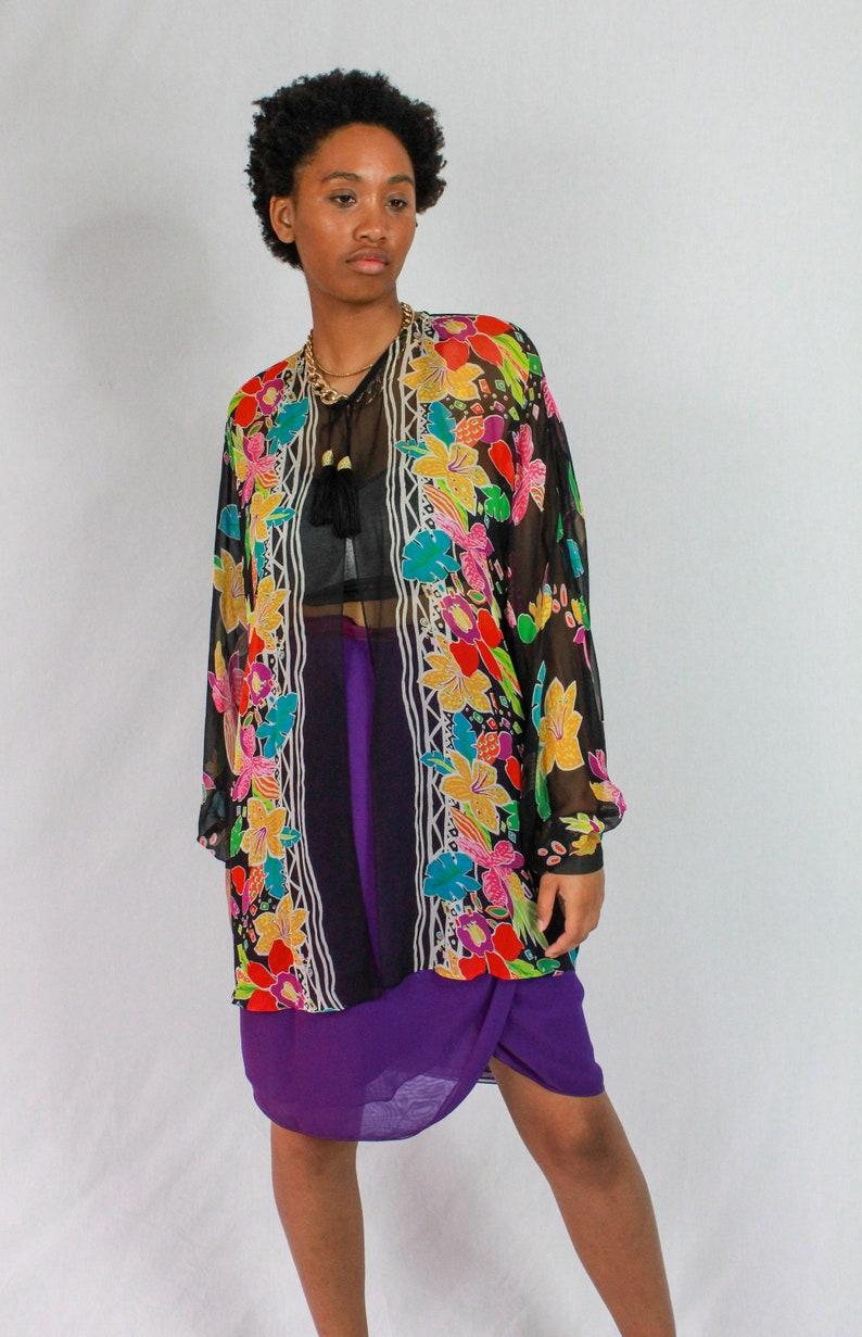 Vintage silk blouse Rickie Freeman for Terijon tassel closure 80s Silk Floral Sheer Cover