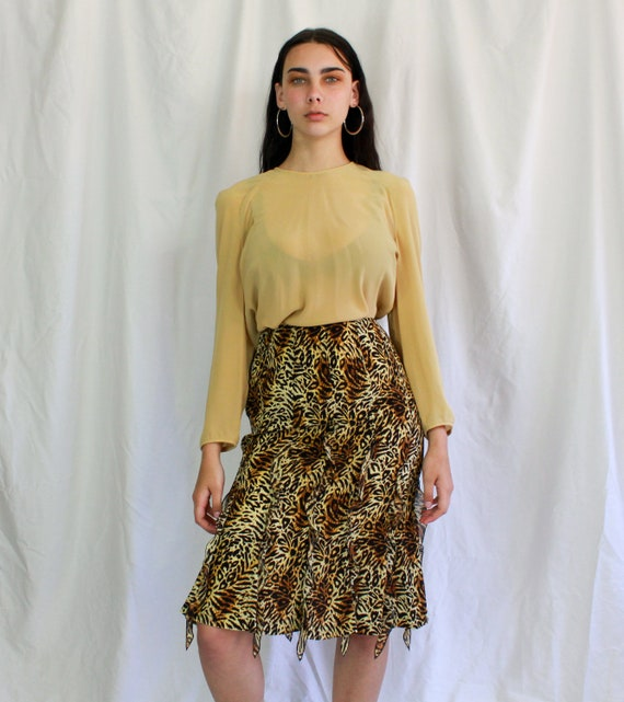 Vintage ESCADA Godet Leopard Silk Skirt | Pencil s