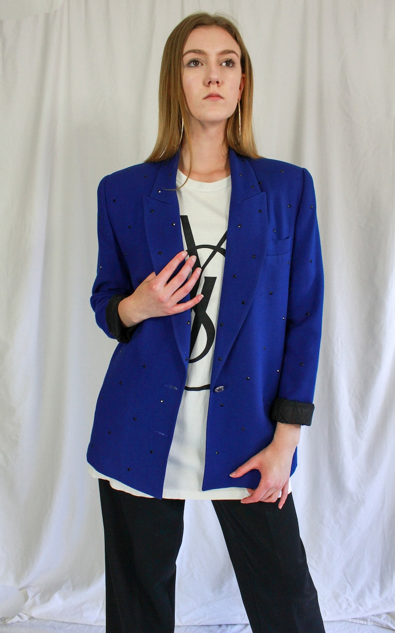 Wool 1980s vintage Made in the USA Rayon designer blazer 80s Criscione New York Royal Blue Studded Crystals padded bold shoulders