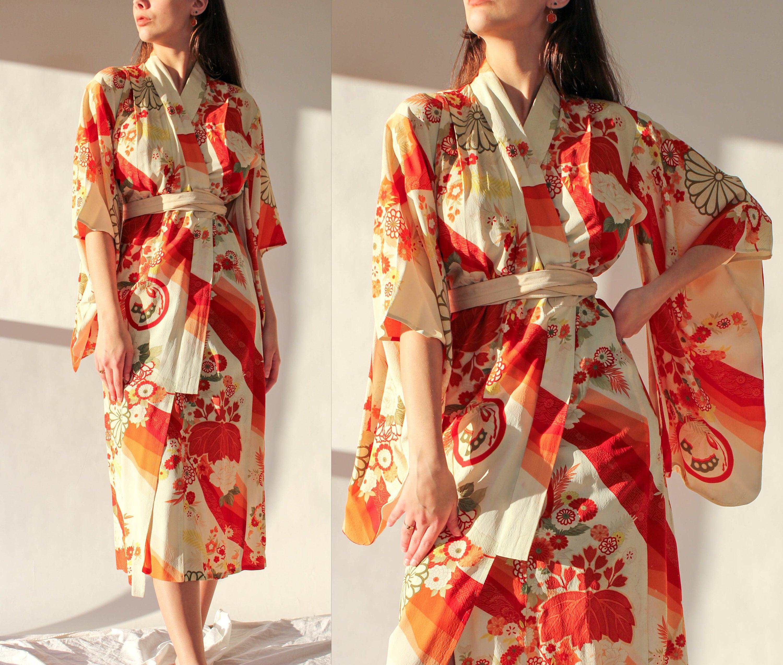 New 1930s Mens Fashion Ties Antique Japanese Sunburst Floral Stitched By Hand Silk Kimono  100 Signature 1920S 1930S Asian Bohemian Jacket $22.95 AT vintagedancer.com