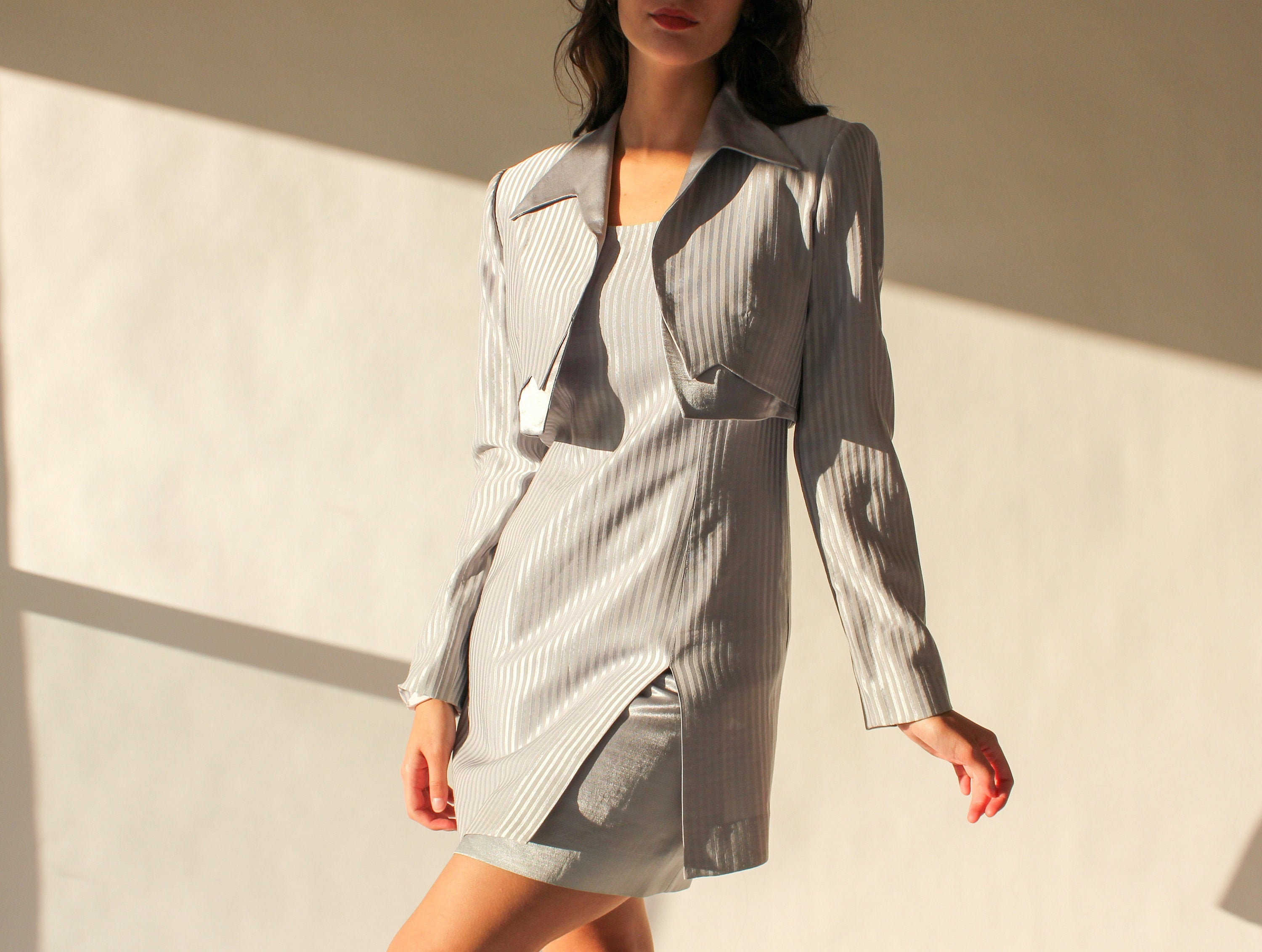 80s Dresses | Casual to Party Dresses Vintage 80S 90S Alberto Makali Silver Striped Sheath Dress  Bolero Two Piece Set  Made in Usa 1980S 1990S Designer Power Blazer Suit $22.95 AT vintagedancer.com