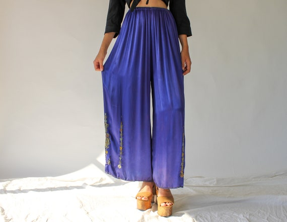 Vintage 20s 30s Silk Satin Lounge Trousers | Palaz