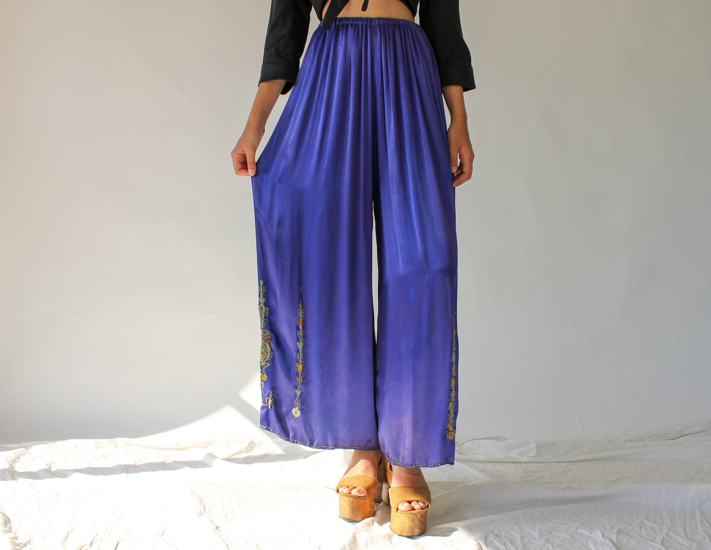 New 1930s Mens Fashion Ties R E S R V D 20S 30S Silk Satin Lounge Trousers  Palazzo Pants Fine Deep Periwinkle Wide Legged Pant Beach Pajama Art Deco $22.95 AT vintagedancer.com
