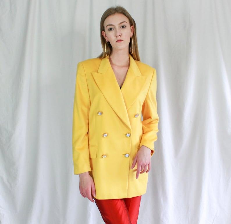 80s Escada Sunshine Yellow Angora Notched Lapel Blazer Designer blazer 1980s blazer opalescent buttons double breasted Angora Wool