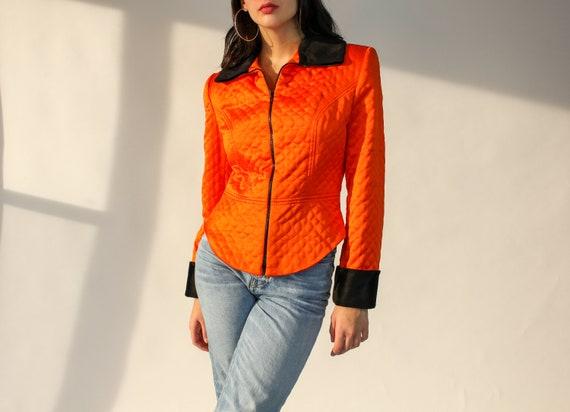 90s Neon Orange Quilted Jacket | Taiga Paris | rav