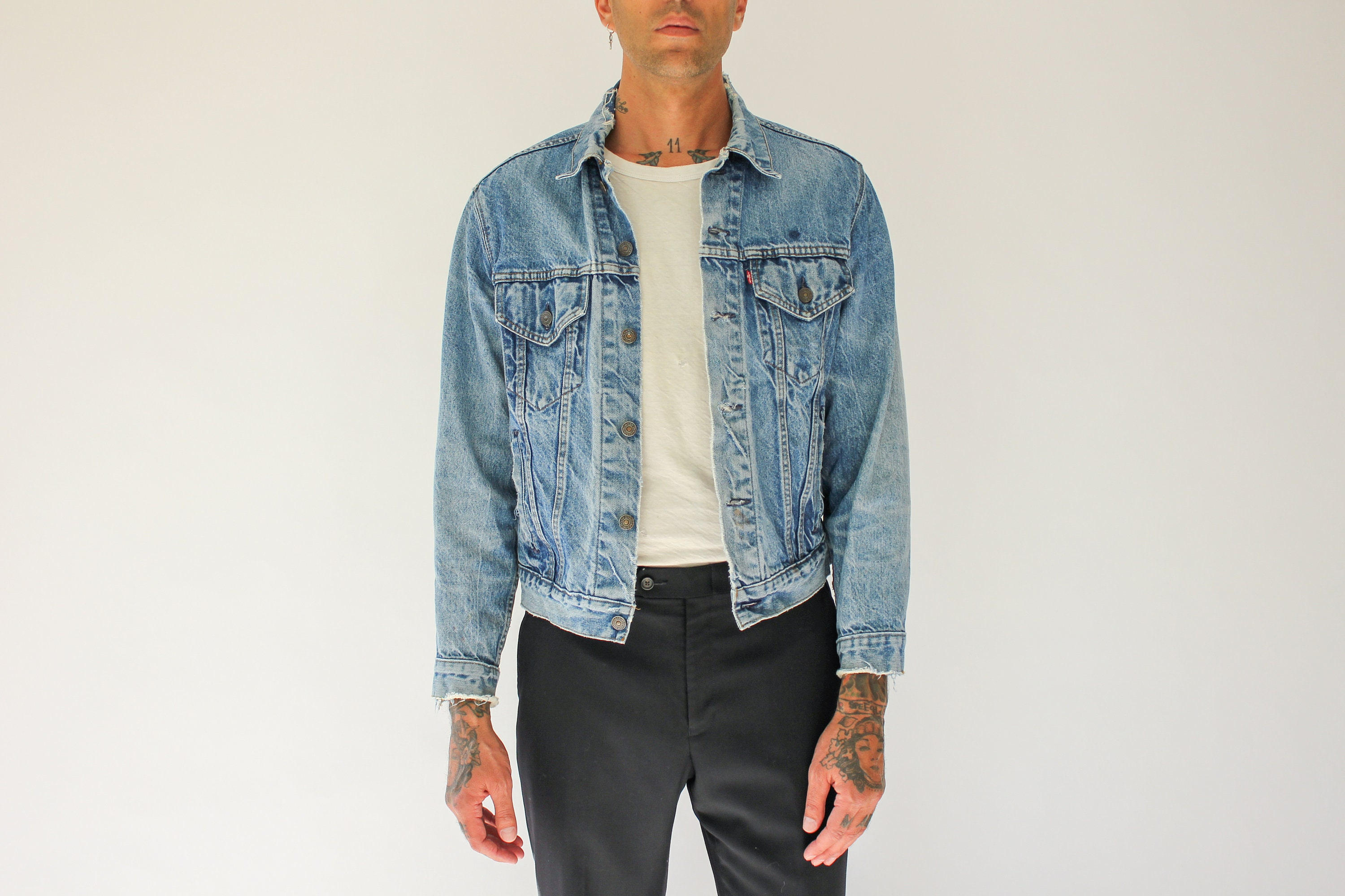 80s Dresses | Casual to Party Dresses Vintage 70S 80S Levis Perfectly Destroyed Denim Trucker Jacket  Made in The Usa 1970S 1980S Mens Medium Wash $22.95 AT vintagedancer.com
