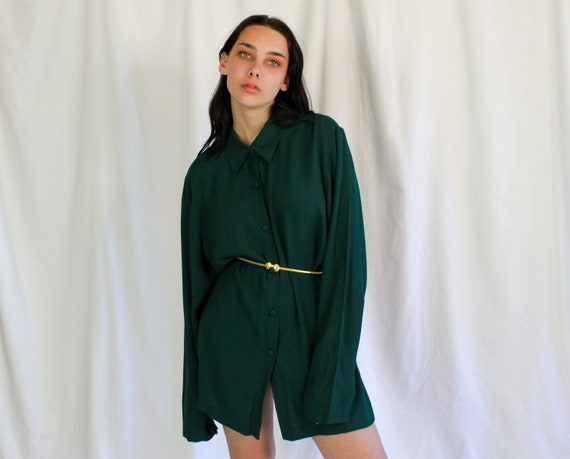 80s Forest Green Rayon Button Down | Vintage dress