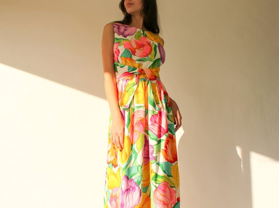Vintage 60s Park East by Swirl Textured Maxi Day D