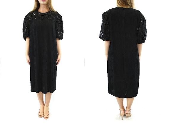 92d802fc Vintage 80s Sparkle Gown // Black dress vintage little black | Etsy