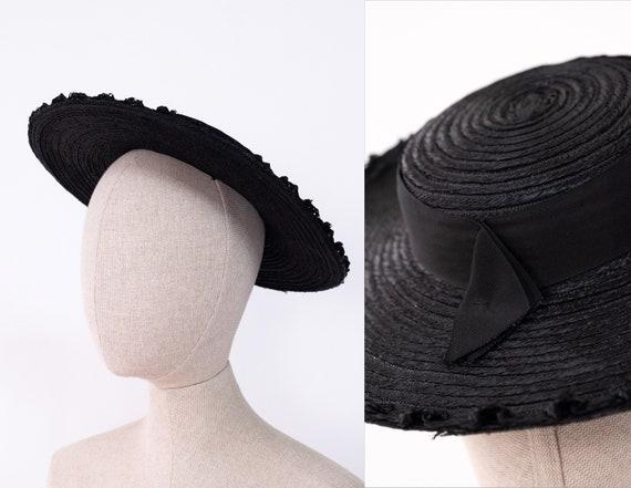 Vintage 40s Black Straw Bolero Wide Brim Hat w/ S… - image 1