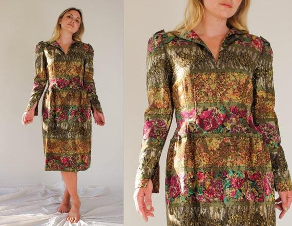 Vintage 80s Pauline Trigere for Amen Wardy Floral… - image 1