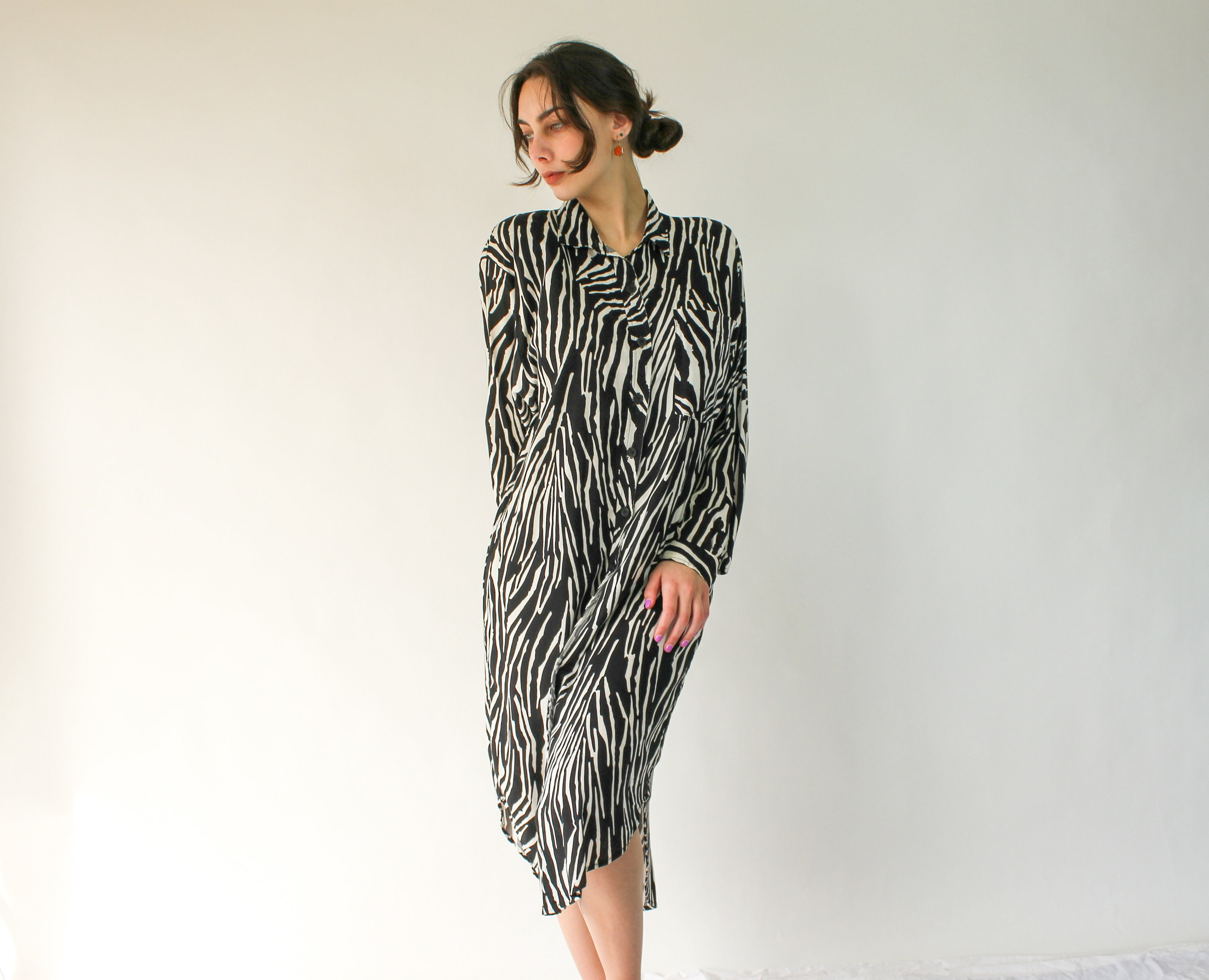80s Dresses   Casual to Party Dresses Vintage 80S California Krush Zebra Print Rayon Button Up Midi Shirt Dress with Broad Shoulders  Made in Usa 100 1980S Boho $22.95 AT vintagedancer.com