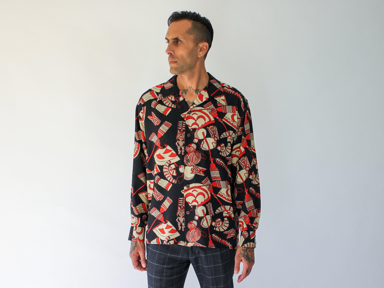 1940s Mens Ties | Wide Ties & Painted Ties Vintage Avanti Hawaiian Mens Silk Long Sleeve Tiki Shirt  100 Large 1940S Style Black Silk, Print $22.95 AT vintagedancer.com