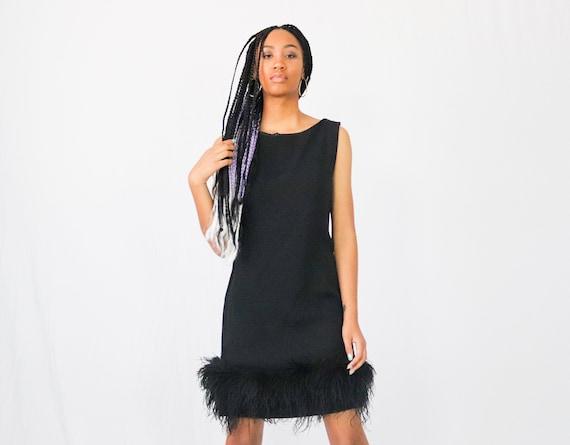 80s feathered mini dress little black dress black mini etsy