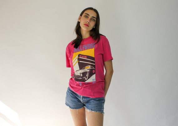 Vintage 80s Hollywood Paper Thin Tee Shirt   Pink