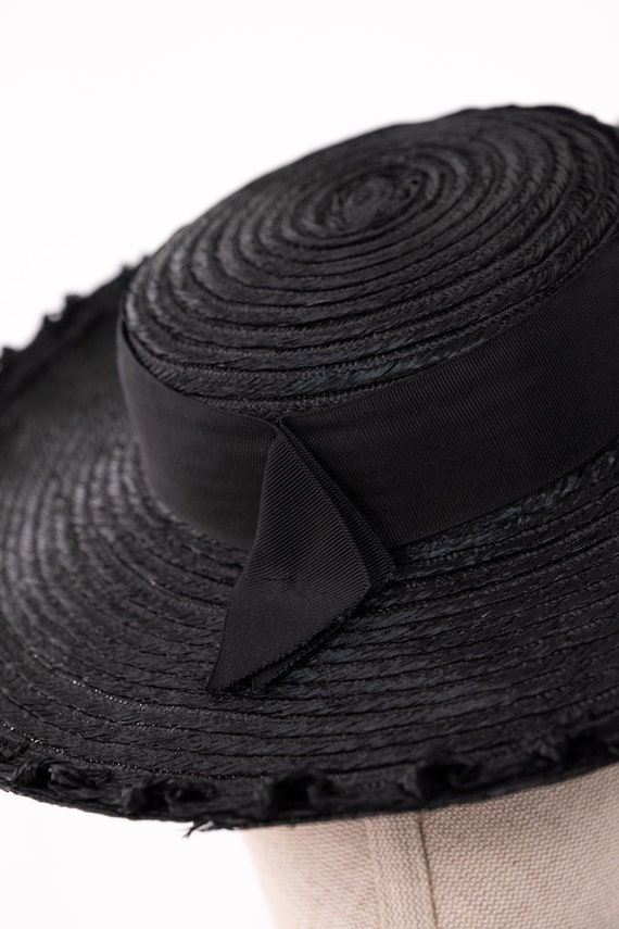 Vintage 40s Black Straw Bolero Wide Brim Hat w/ S… - image 4