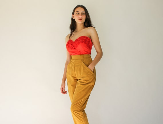 Vintage 80s Mondi Mustard Yellow High Waisted Eque