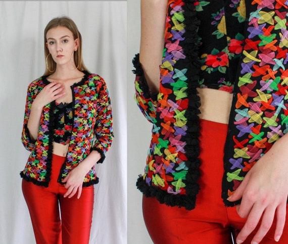Victor Costa Rainbow Tulle Cotton Cardigan   patte