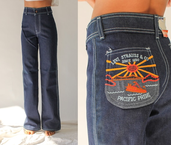 Vintage 70s Levis High Waisted White Tab Kids Embr