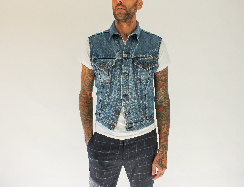 1960s – 70s Men's Ties | Skinny Ties, Slim Ties Vintage 60S 70S Big E Levis Destroyed Denim Jacket Cut Off Vest  Made in Usa Authentic 1960S 1970S Type 3 Levis 70505 Indigo $22.95 AT vintagedancer.com