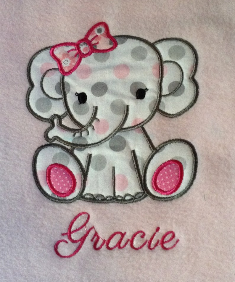 Pink Fleece Baby Blanket with Elephant Applique and Elephant Print Flannel Back
