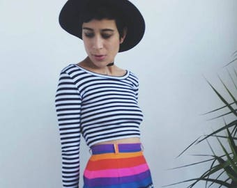 Long Sleeve Crop Black and White Stripes