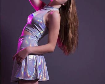 Holographic TWIN SET Sleeveless Turtle Neck Crop and High Waist Skater Skirt, Rave Outfit, Burning Man Clothing, EDM Festival Clothing