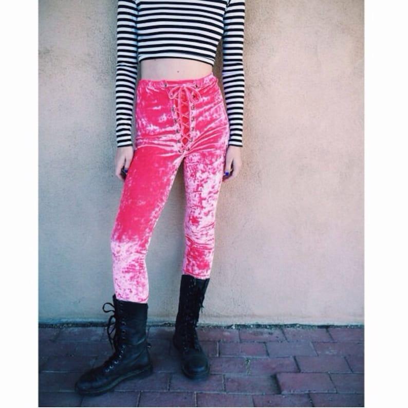 d4dfa2c585cfc9 Crushed Velvet Lace Up Leggings Hot Pink Grommet Pants Lace   Etsy