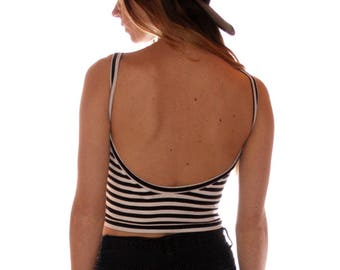 Open Back Crop Black/White Stripes, 90s Style, Summer Shirts Women, Black and white stripes, striped shirt