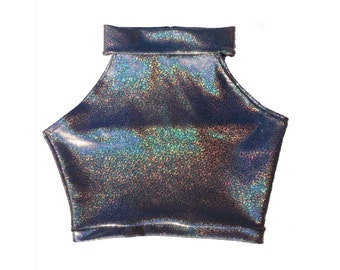 Sleeveless Holographic Turtle Neck Crop