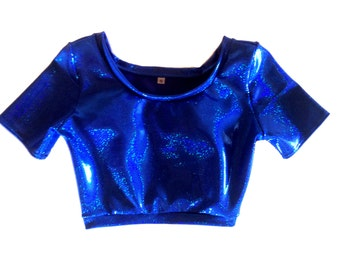 Blue Holographic Short Sleeve Crop, Rave Wear, Festival Clothing, Burning Man Clothing Women, Rave Outfit, Edm Festival Clothing, holo top