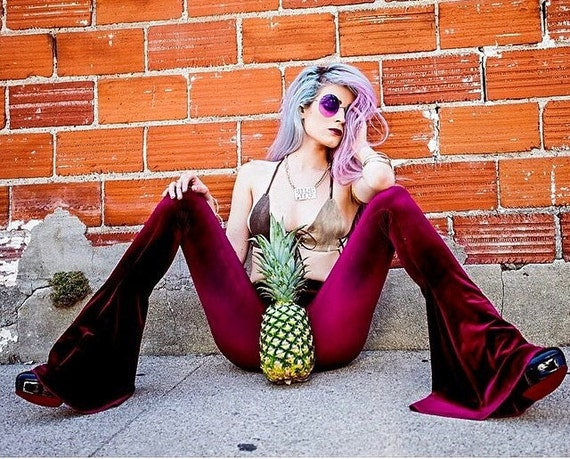 High Waisted Velvet Bells, Flare Pants, Burgundy Festival Wear, Gypsy, Boho, Hippie by Etsy