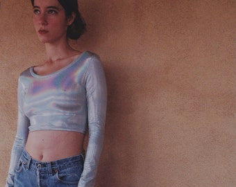 Holographic Crop Top Long Sleeves Festival Clothing Psychedelic Hologram rainbow burning man metallic festival wear