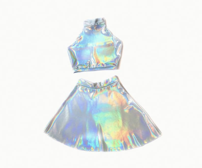 3d81df28d Holographic TWIN SET Sleeveless Turtle Neck Crop and High   Etsy