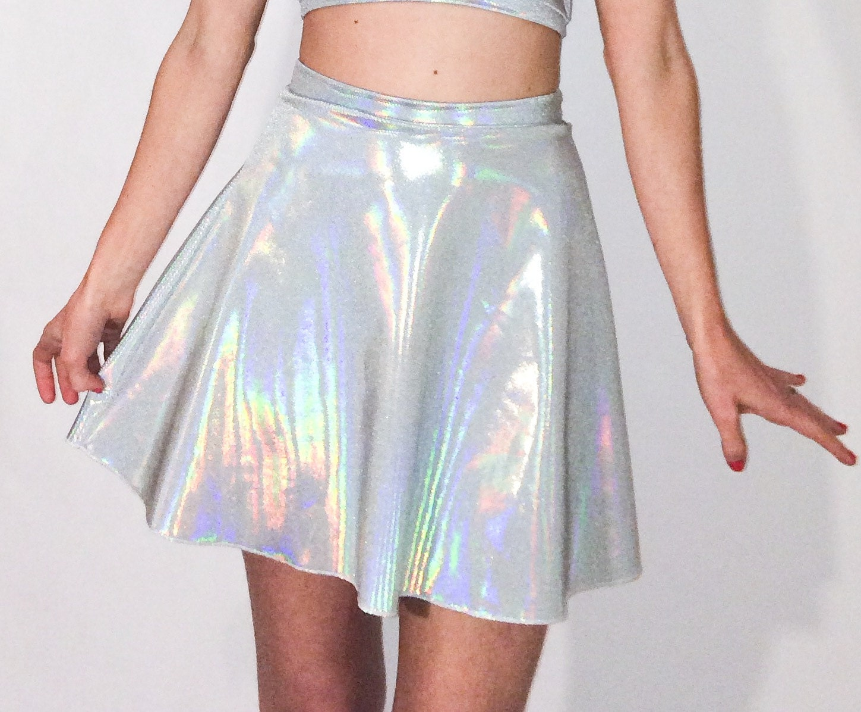 Holographic Skirt Festival Wear Metallic Silver festival