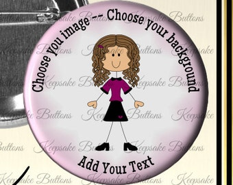 """2.25"""" Cutsom Pin Back Buttons, Design Your Own Pins, Party Buttons, Choose Your Image, Birthdays, Showers, School Events, ID Tags"""