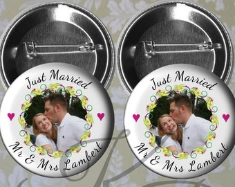 "Photo Honeymoon Couple Buttons, 2.25"" Custom Just Married Photo Pins, Mr and Mrs  Honeymoon Couple Buttons, Wedding Keepsake"