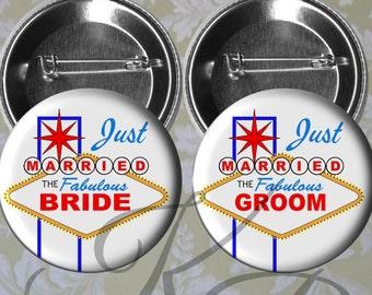 """Las Vegas Honeymoon Buttons, 2.25"""" Just Married Pins, Las Vegas Wedding, Bride and Groom Pins, Las Vegas Bride and Groom, Wedding Keepsake"""
