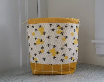 Bee Bag for knitting, crochet, cross stitch, or embroidery projects with yellow accents