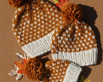 Butterscotch with White Dots Chunky Hand Knit Hat, Fall Baby Toddler and Womens Beanie with pom pom