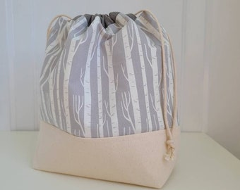 Project bag for knitting, crochet, needlework; Birch tree neutral drawstring pouch with pockets