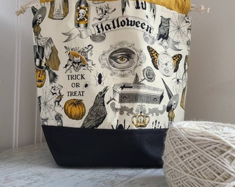Halloween project bag for knitting, crochet, or embroidery with drawstring and pockets