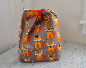 LARGE Fox Print Project bag - adorable craft drawstring pouch for knitting, crochet, and embroidery