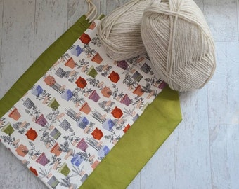 Potted Herbs print bag for knitters, crocheters, and crafters with drawstring closure and pockets