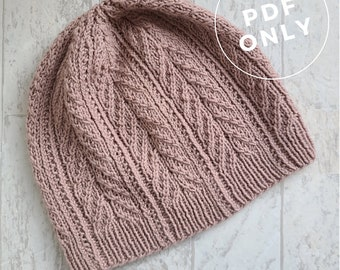 Prudence Island knitting hat pattern for adults with twisted stitches and see stitch columns; charted and written instructions included.