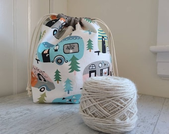 Camper knitting project bag with RV print for knitting, crochet, or embroidery with drawstring and pockets