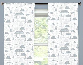 Adventure Awaits Mountains Nursery Curtains Gray Bear Tree Grey Boy Curtains  CUSTOM Spoonflower Cotton Twill Curtain Panels Curtain Set Of 2